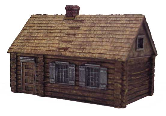 Hudson & Allen 25mm Scale Model Log Cabin Village Building #2 for Tabletop Miniature Wargames